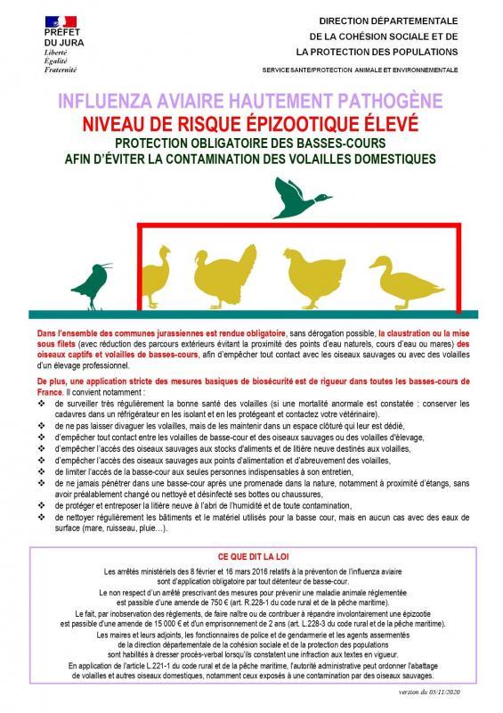 Plaquette biosecurite basses cours jura risque eleve page 0001